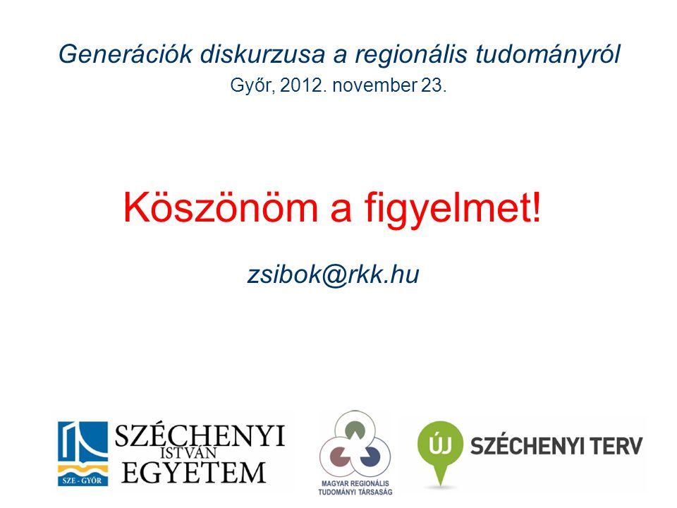 Köszönöm a figyelmet. zsibok@rkk.hu Generációk diskurzusa a regionális tudományról Győr, 2012.
