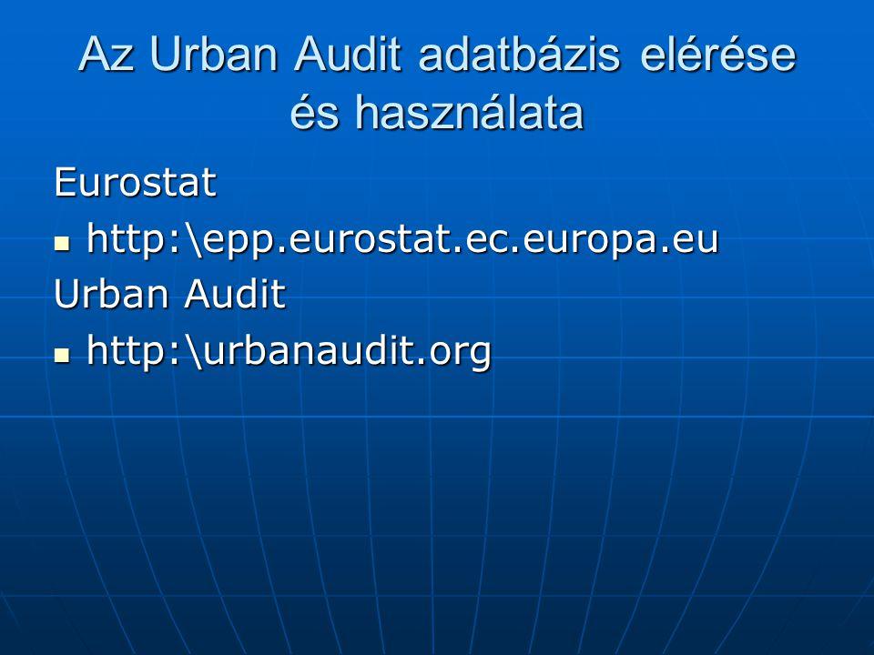 Az Urban Audit adatbázis elérése és használata Eurostat http:\epp.eurostat.ec.europa.eu http:\epp.eurostat.ec.europa.eu Urban Audit http:\urbanaudit.org http:\urbanaudit.org
