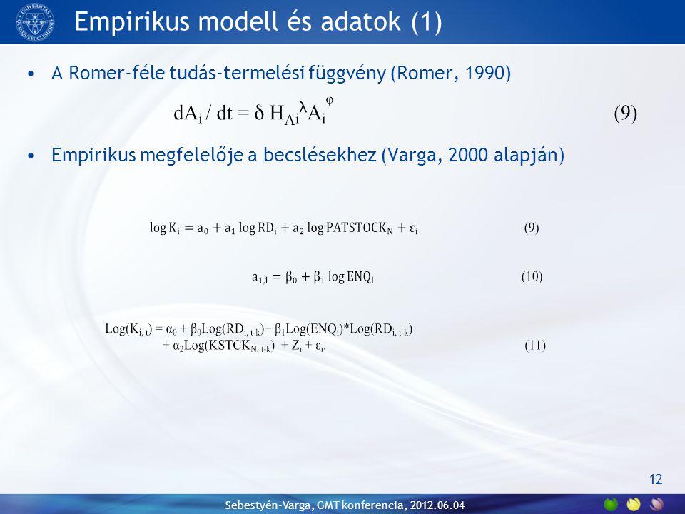 Empirikus modell és adatok (1) A Romer-féle tudás-termelési függvény (Romer, 1990) Empirikus megfelelője a becslésekhez (Varga, 2000 alapján) Sebestyén-Varga, GMT konferencia, 2012.06.04 12