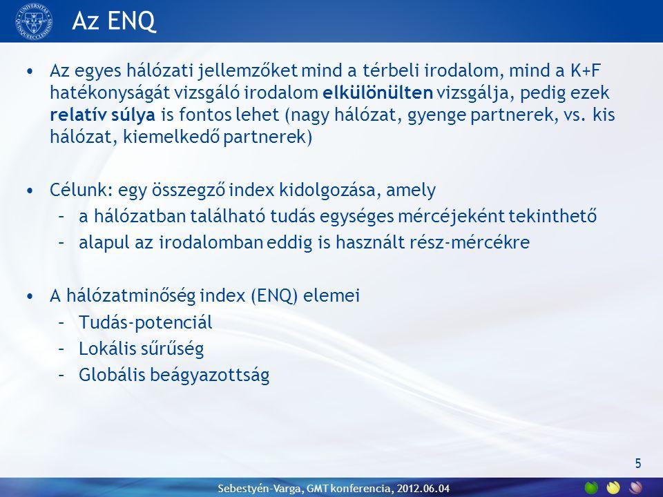 Az ENQ Az egyes hálózati jellemzőket mind a térbeli irodalom, mind a K+F hatékonyságát vizsgáló irodalom elkülönülten vizsgálja, pedig ezek relatív súlya is fontos lehet (nagy hálózat, gyenge partnerek, vs.