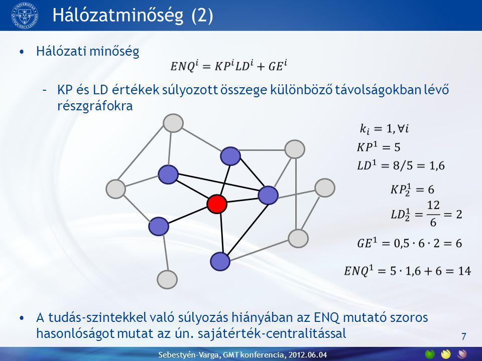 Hálózatminőség (2) Hálózati minőség –KP és LD értékek súlyozott összege különböző távolságokban lévő részgráfokra A tudás-szintekkel való súlyozás hiányában az ENQ mutató szoros hasonlóságot mutat az ún.