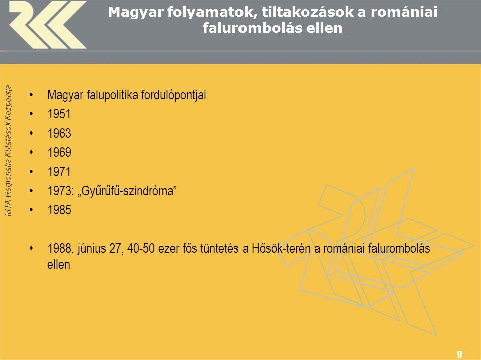 """MTA Regionális Kutatások Központja 9 Magyar folyamatok, tiltakozások a romániai falurombolás ellen Magyar falupolitika fordulópontjai 1951 1963 1969 1971 1973: """"Gyűrűfű-szindróma 1985 1988."""