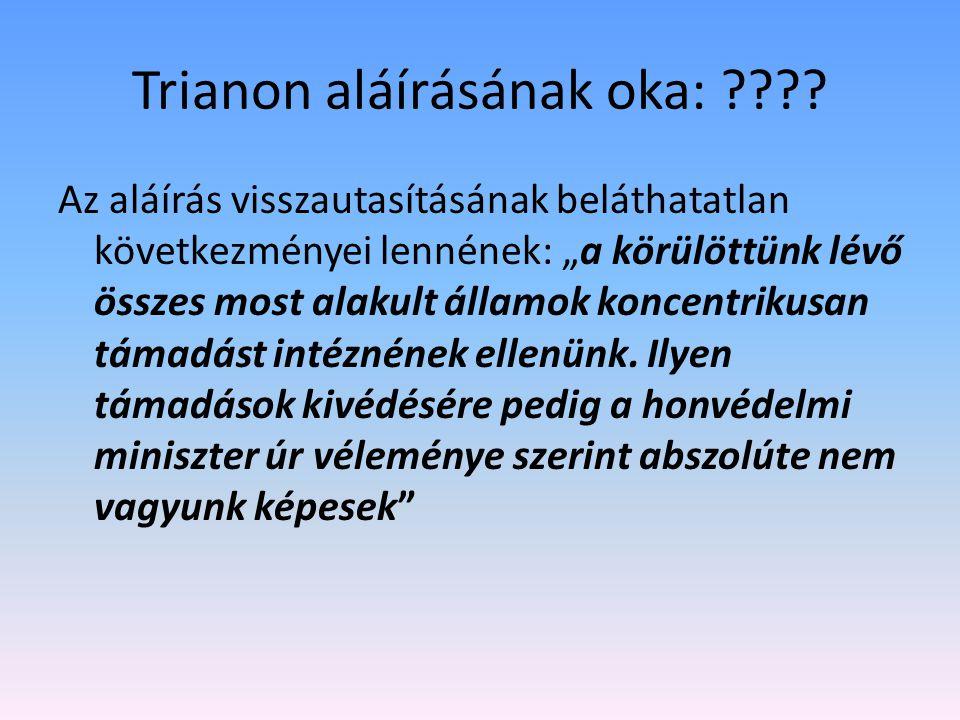 """Trianon aláírásának oka: ???? Az aláírás visszautasításának beláthatatlan következményei lennének: """"a körülöttünk lévő összes most alakult államok kon"""