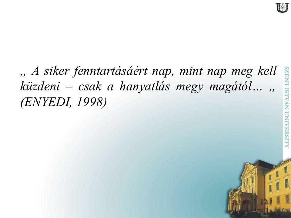 """,, A siker fenntartásáért nap, mint nap meg kell küzdeni – csak a hanyatlás megy magától… """" (ENYEDI, 1998)"""