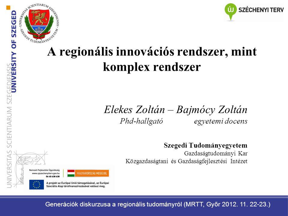 A regionális innovációs rendszer, mint komplex rendszer Elekes Zoltán – Bajmócy Zoltán Phd-hallgató egyetemi docens Szegedi Tudományegyetem Gazdaságtu