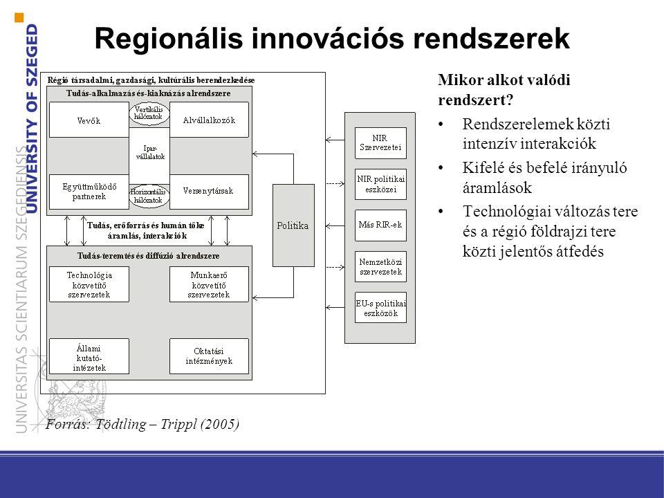 A regionális szint, mint elemzési keret akkor válik jelentőssé, ha: –A térség (történetileg létrejött) speciális jellemzői –A szereplők térbeli elhelyezkedése (közelség, koncentráltság) ↓ Érdemi hatással van az innovációk bevezetésének és terjedésének összekapcsolódó folyamatára Evolúciós gazdaságföldrajzi értelemben –A térben jelentkező pozitív visszacsatolási mechanizmusok kezdenek felerősödni Regionális innovációs rendszerek Forrás: Asheim et al (2011) alapján