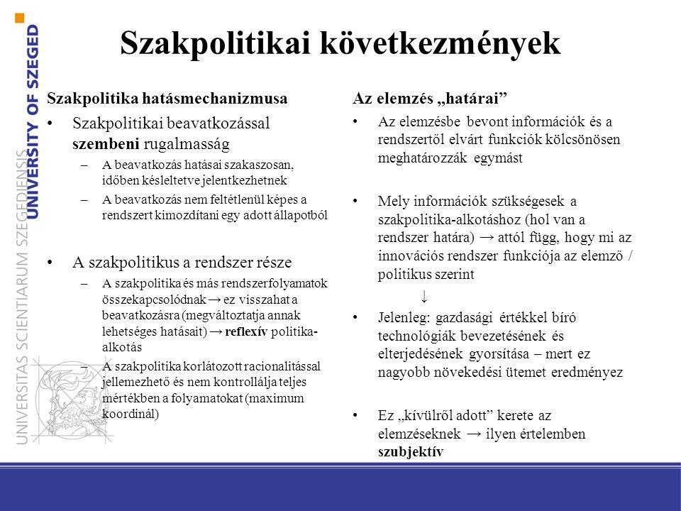 Szakpolitikai következmények Szakpolitika hatásmechanizmusa Szakpolitikai beavatkozással szembeni rugalmasság –A beavatkozás hatásai szakaszosan, időb