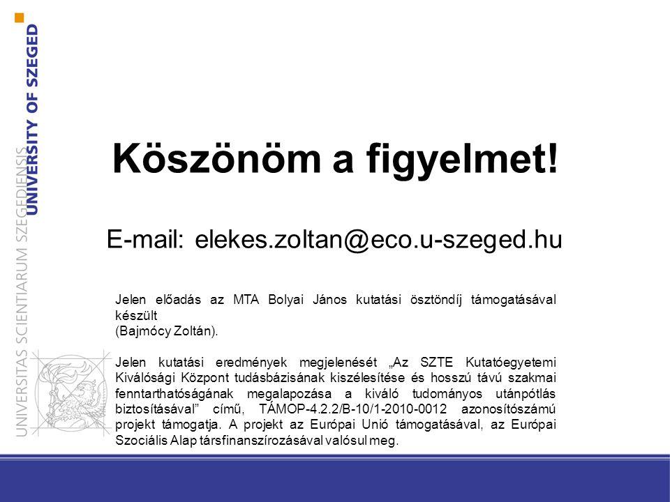 Köszönöm a figyelmet! E-mail: elekes.zoltan@eco.u-szeged.hu Jelen előadás az MTA Bolyai János kutatási ösztöndíj támogatásával készült (Bajmócy Zoltán