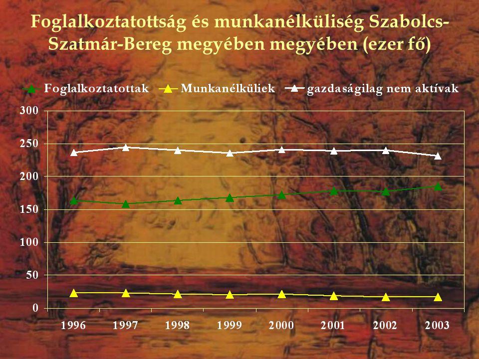 Foglalkoztatottság és munkanélküliség Szabolcs- Szatmár-Bereg megyében megyében (ezer fő)