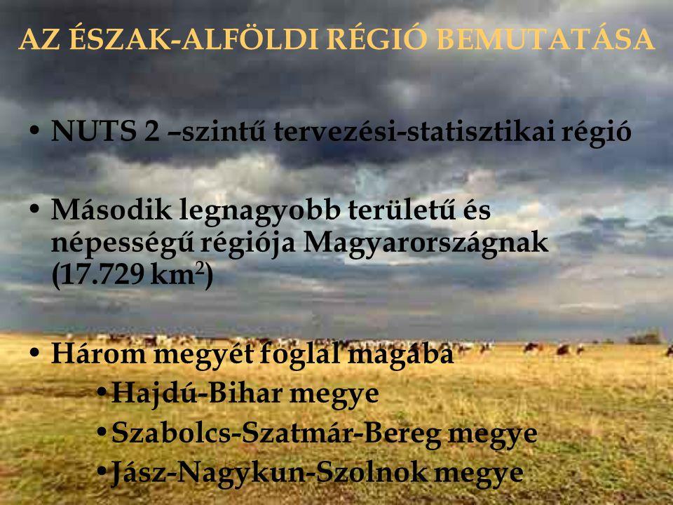 AZ ÉSZAK-ALFÖLDI RÉGIÓ BEMUTATÁSA NUTS 2 –szintű tervezési-statisztikai régió Második legnagyobb területű és népességű régiója Magyarországnak (17.729