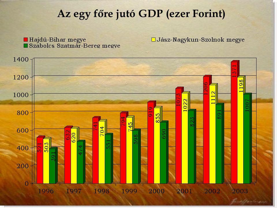Az egy főre jutó GDP (ezer Forint)