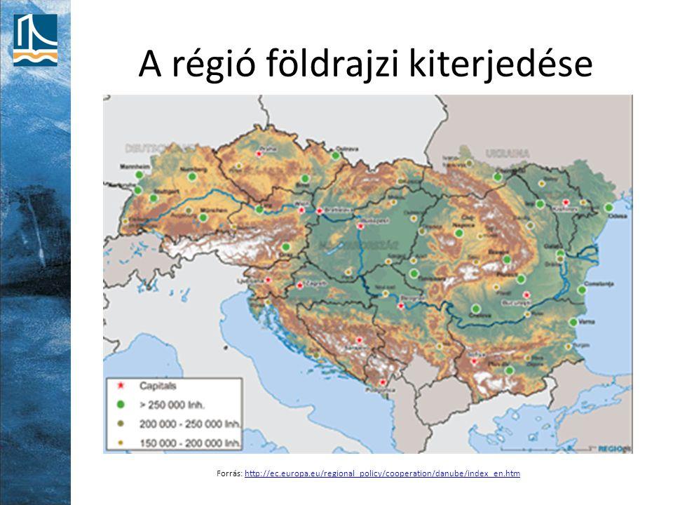 A régió földrajzi kiterjedése Forrás: http://ec.europa.eu/regional_policy/cooperation/danube/index_en.htmhttp://ec.europa.eu/regional_policy/cooperati