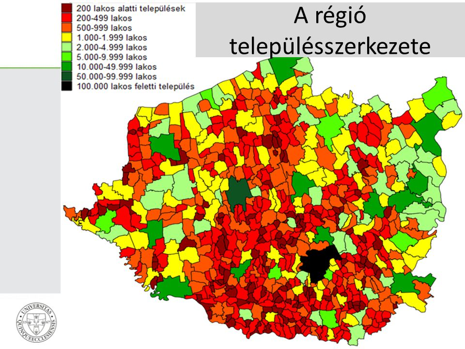 A régió településszerkezete