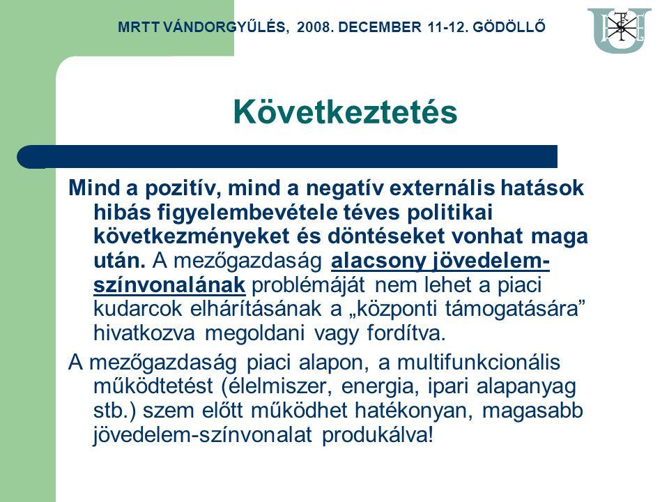 Következtetés Mind a pozitív, mind a negatív externális hatások hibás figyelembevétele téves politikai következményeket és döntéseket vonhat maga után.