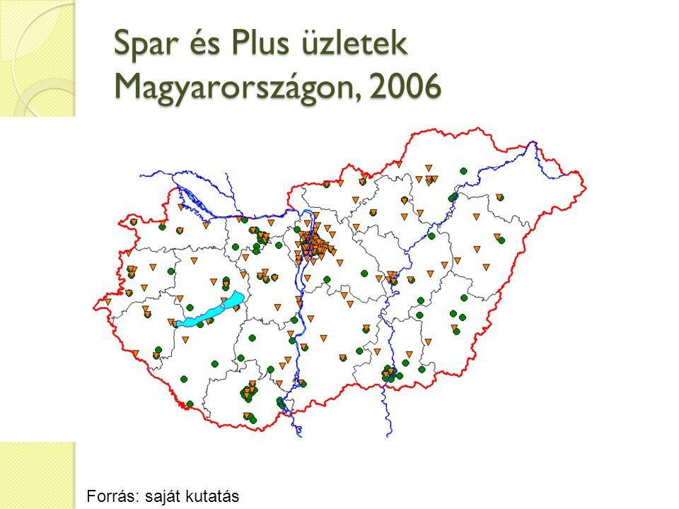 Spar és Plus üzletek Magyarországon, 2006 Forrás: saját kutatás