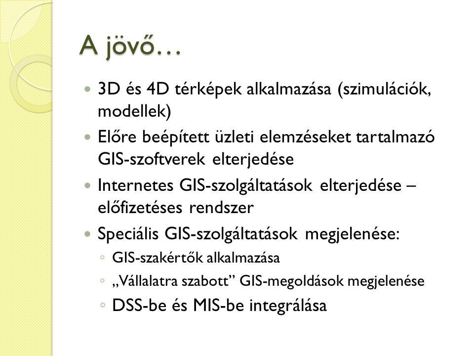 """A jövő… 3D és 4D térképek alkalmazása (szimulációk, modellek) Előre beépített üzleti elemzéseket tartalmazó GIS-szoftverek elterjedése Internetes GIS-szolgáltatások elterjedése – előfizetéses rendszer Speciális GIS-szolgáltatások megjelenése: ◦ GIS-szakértők alkalmazása ◦ """"Vállalatra szabott GIS-megoldások megjelenése ◦ DSS-be és MIS-be integrálása"""
