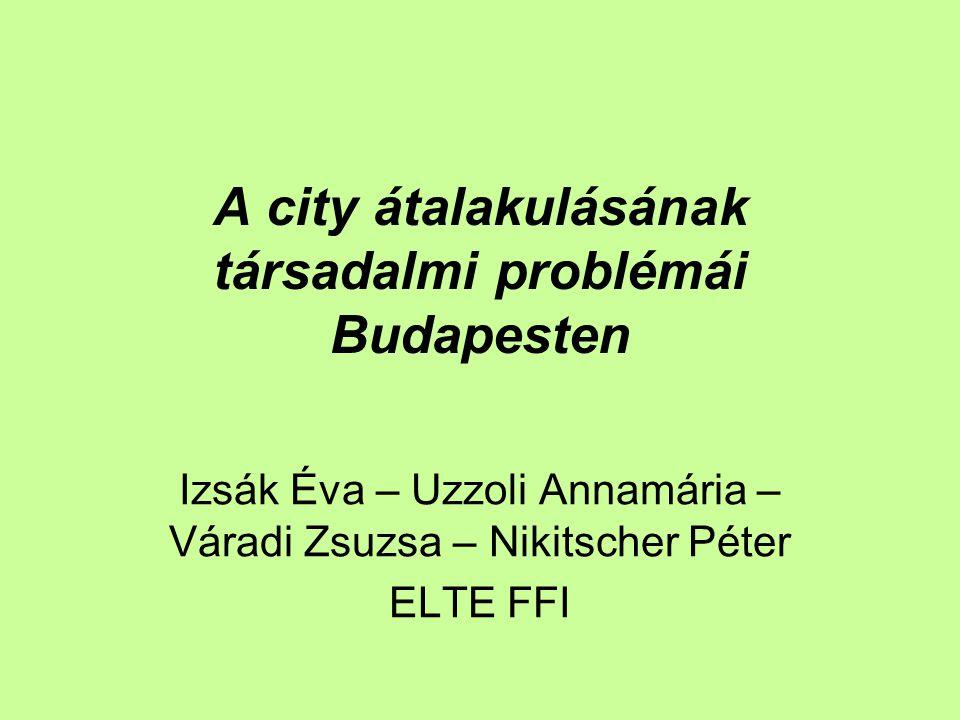 A city átalakulásának társadalmi problémái Budapesten Izsák Éva – Uzzoli Annamária – Váradi Zsuzsa – Nikitscher Péter ELTE FFI