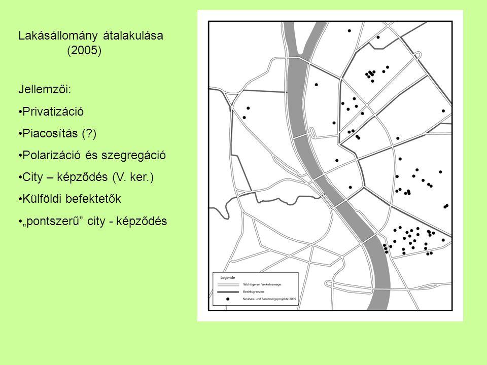 """Lakásállomány átalakulása (2005) Jellemzői: Privatizáció Piacosítás (?) Polarizáció és szegregáció City – képződés (V. ker.) Külföldi befektetők """"pont"""