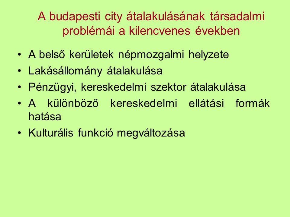A budapesti city átalakulásának társadalmi problémái a kilencvenes években A belső kerületek népmozgalmi helyzete Lakásállomány átalakulása Pénzügyi,