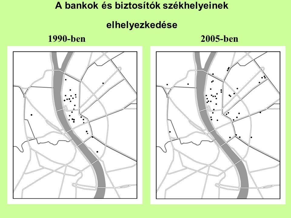 A bankok és biztosítók székhelyeinek elhelyezkedése 1990-ben2005-ben