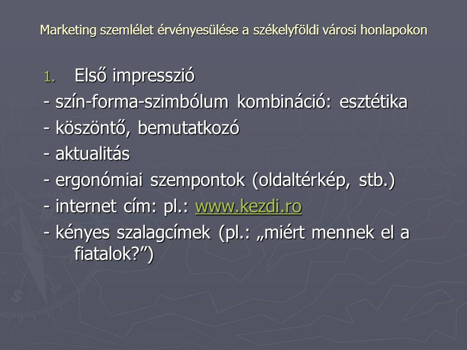 Marketing szemlélet érvényesülése a székelyföldi városi honlapokon 2.