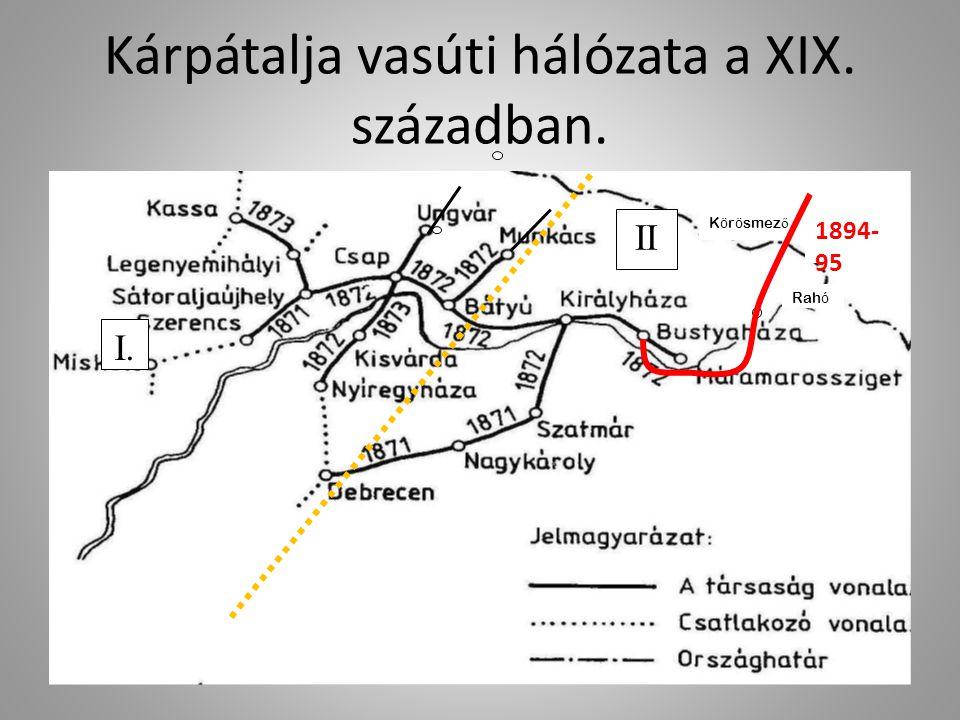 Kárpátalja vasúti vonalainak sémája Uzsgorod Mukacsevo Csop Sztrij Ivano Frankovszk Rahó Velíkij Bocskó Batyevo Kárpátok Országhatár A hiányzó vasúti szakasz