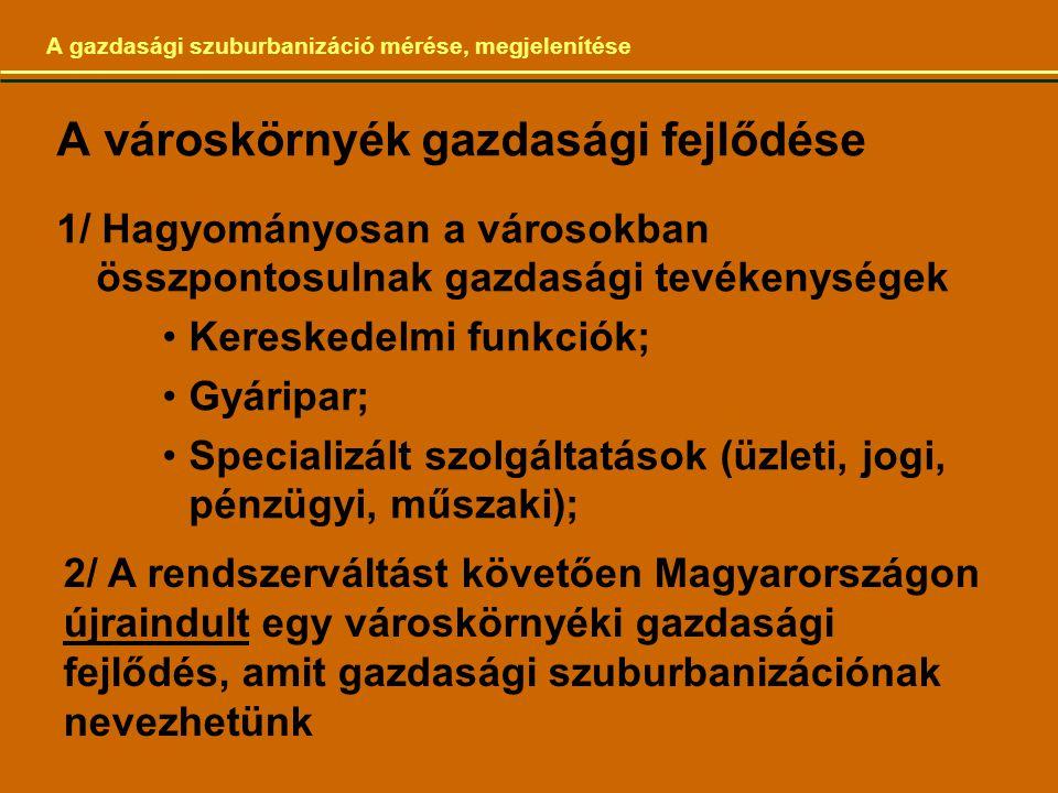 A gazdasági szuburbanizáció mérése, megjelenítése A városkörnyék gazdasági fejlődése 1/ Hagyományosan a városokban összpontosulnak gazdasági tevékenységek Kereskedelmi funkciók; Gyáripar; Specializált szolgáltatások (üzleti, jogi, pénzügyi, műszaki); 2/ A rendszerváltást követően Magyarországon újraindult egy városkörnyéki gazdasági fejlődés, amit gazdasági szuburbanizációnak nevezhetünk