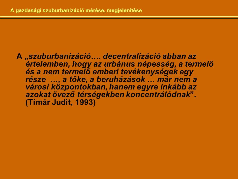 """A gazdasági szuburbanizáció mérése, megjelenítése A """"szuburbanizáció…."""