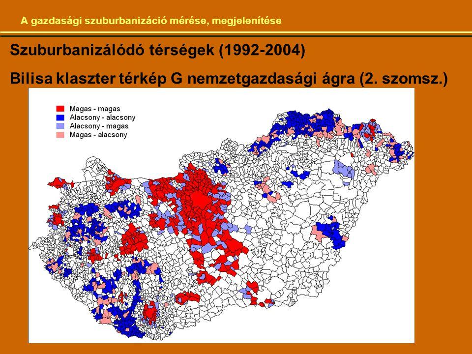 A gazdasági szuburbanizáció mérése, megjelenítése Szuburbanizálódó térségek (1992-2004) Bilisa klaszter térkép G nemzetgazdasági ágra (2.