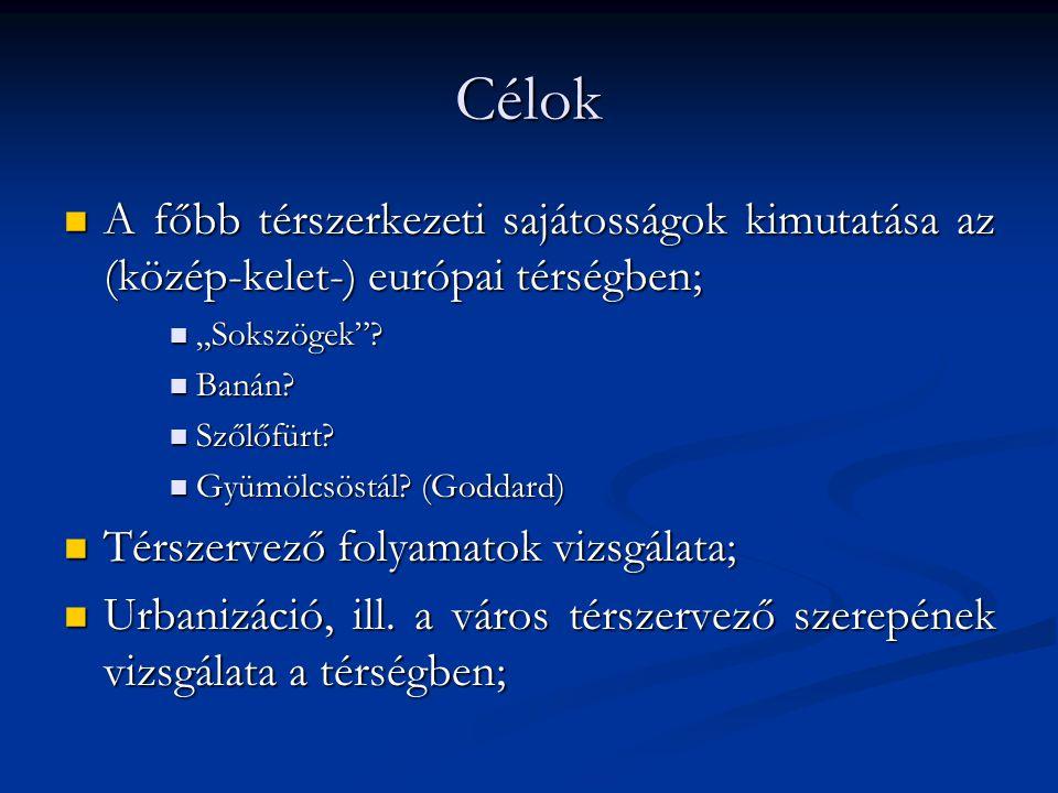 Célok A főbb térszerkezeti sajátosságok kimutatása az (közép-kelet-) európai térségben; A főbb térszerkezeti sajátosságok kimutatása az (közép-kelet-)