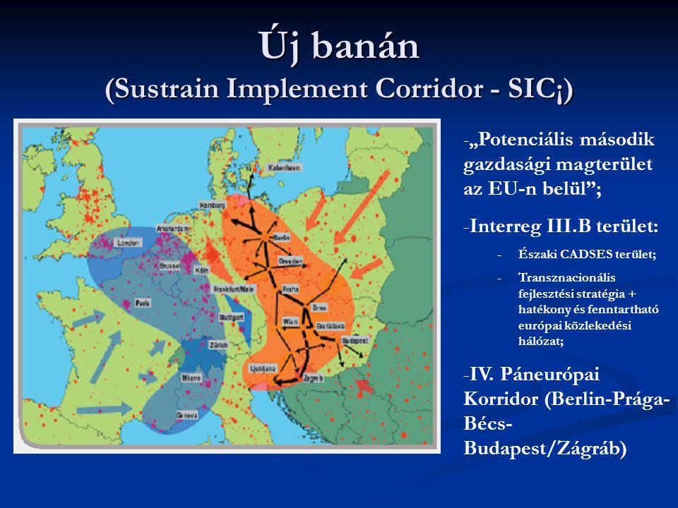 """Új banán (Sustrain Implement Corridor - SIC¡) -"""" Potenciális második gazdasági magterület az EU-n belül""""; -Interreg III.B terület: -Északi CADSES terü"""