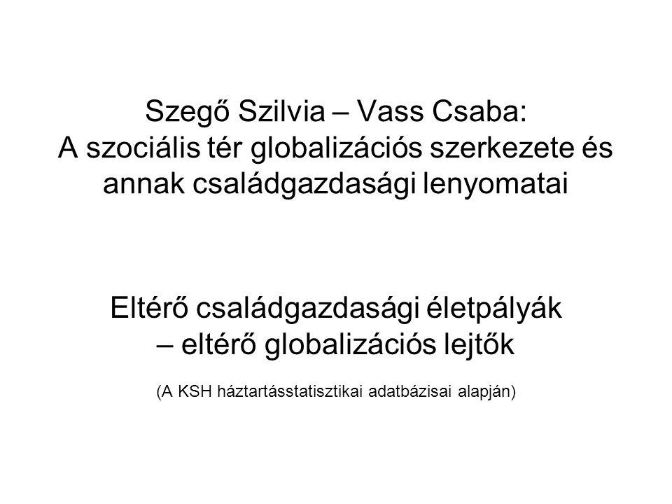 Szegő Szilvia – Vass Csaba: A szociális tér globalizációs szerkezete és annak családgazdasági lenyomatai Eltérő családgazdasági életpályák – eltérő gl