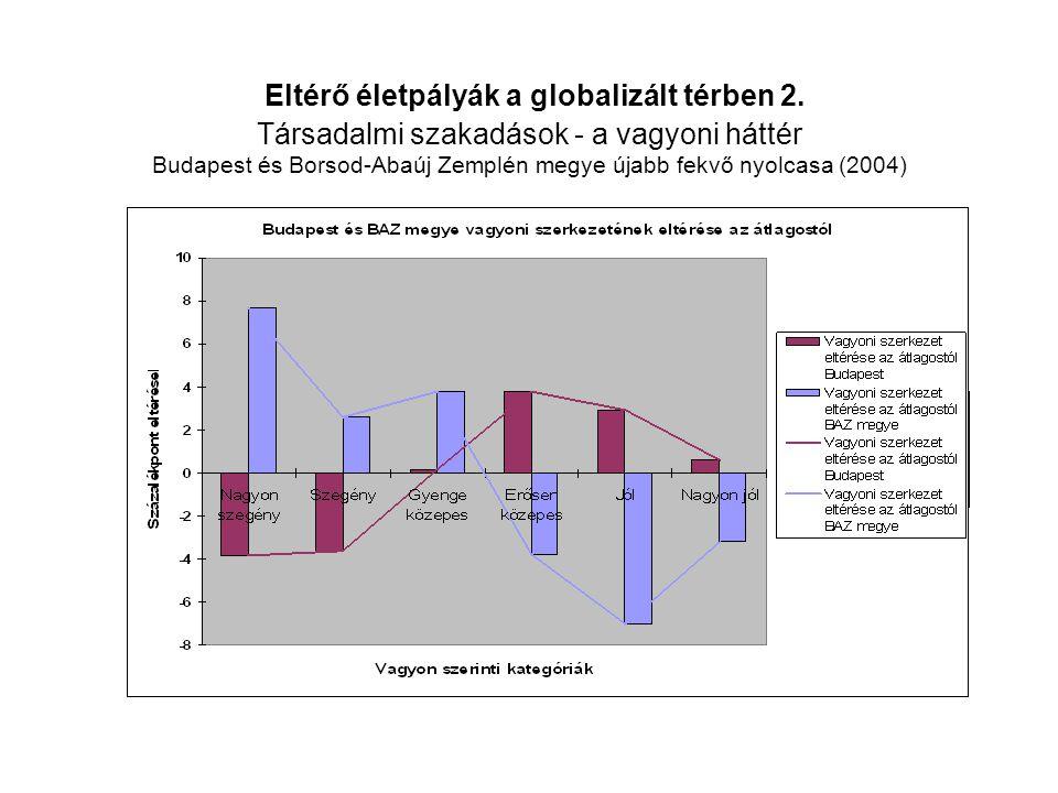 Eltérő életpályák a globalizált térben 2. Társadalmi szakadások - a vagyoni háttér Budapest és Borsod-Abaúj Zemplén megye újabb fekvő nyolcasa (2004)