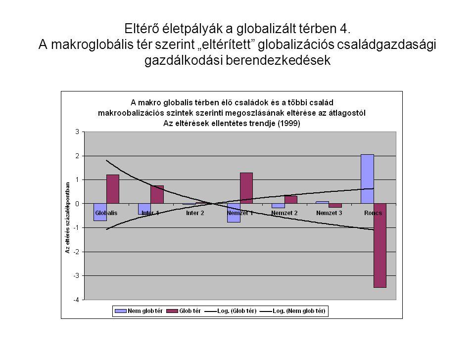 """Eltérő életpályák a globalizált térben 4. A makroglobális tér szerint """"eltérített"""" globalizációs családgazdasági gazdálkodási berendezkedések"""