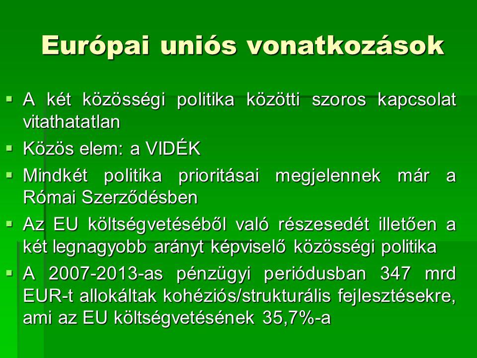 Európai uniós vonatkozások  A két közösségi politika közötti szoros kapcsolat vitathatatlan  Közös elem: a VIDÉK  Mindkét politika prioritásai megj