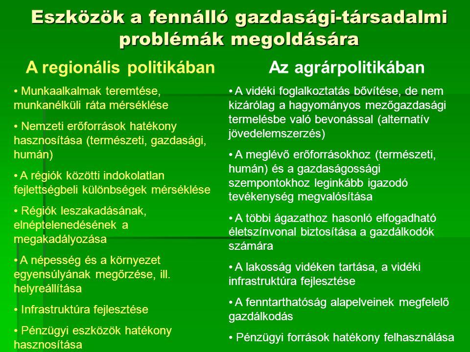 Eszközök a fennálló gazdasági-társadalmi problémák megoldására A regionális politikában Munkaalkalmak teremtése, munkanélküli ráta mérséklése Nemzeti