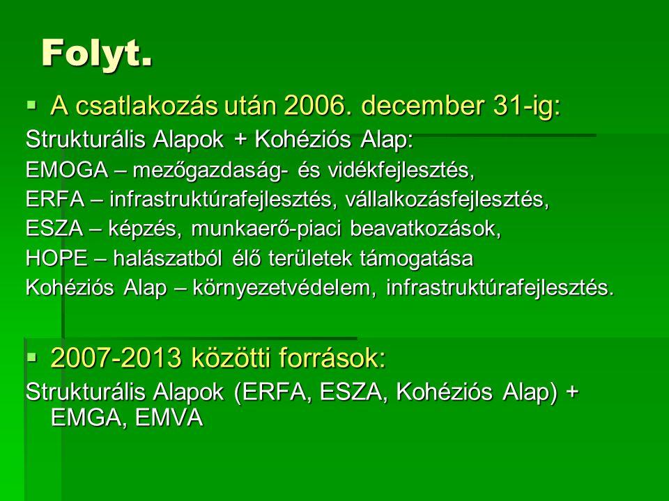 Folyt.  A csatlakozás után 2006. december 31-ig: Strukturális Alapok + Kohéziós Alap: EMOGA – mezőgazdaság- és vidékfejlesztés, ERFA – infrastruktúra
