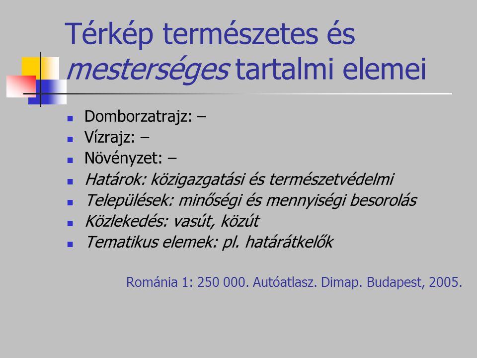 Térkép természetes és mesterséges tartalmi elemei Domborzatrajz: – Vízrajz: – Növényzet: – Határok: közigazgatási és természetvédelmi Települések: minőségi és mennyiségi besorolás Közlekedés: vasút, közút Tematikus elemek: pl.