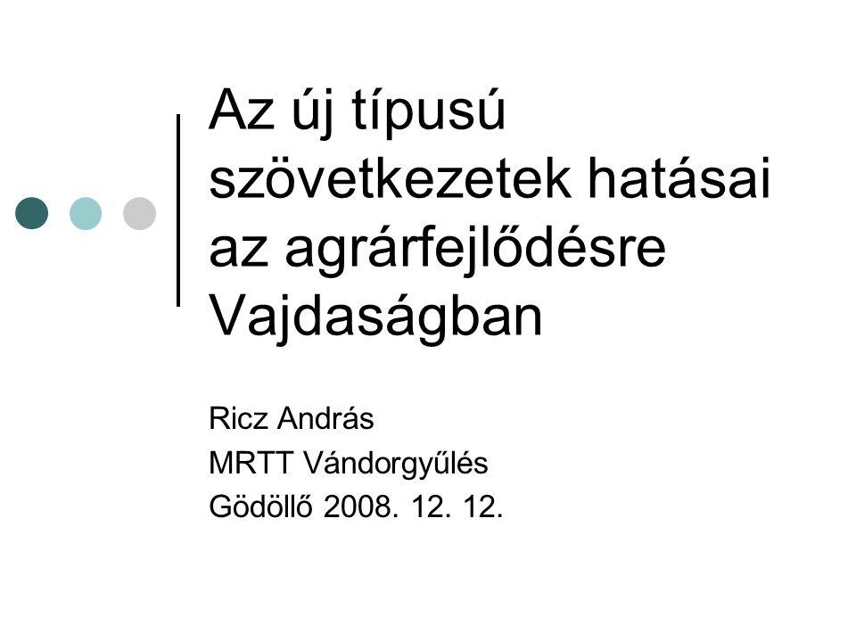 Az új típusú szövetkezetek hatásai az agrárfejlődésre Vajdaságban Ricz András MRTT Vándorgyűlés Gödöllő 2008. 12. 12.