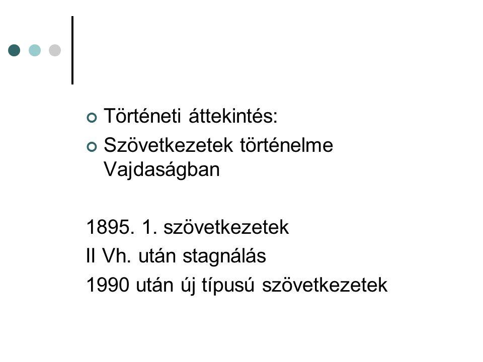 Történeti áttekintés: Szövetkezetek történelme Vajdaságban 1895. 1. szövetkezetek II Vh. után stagnálás 1990 után új típusú szövetkezetek