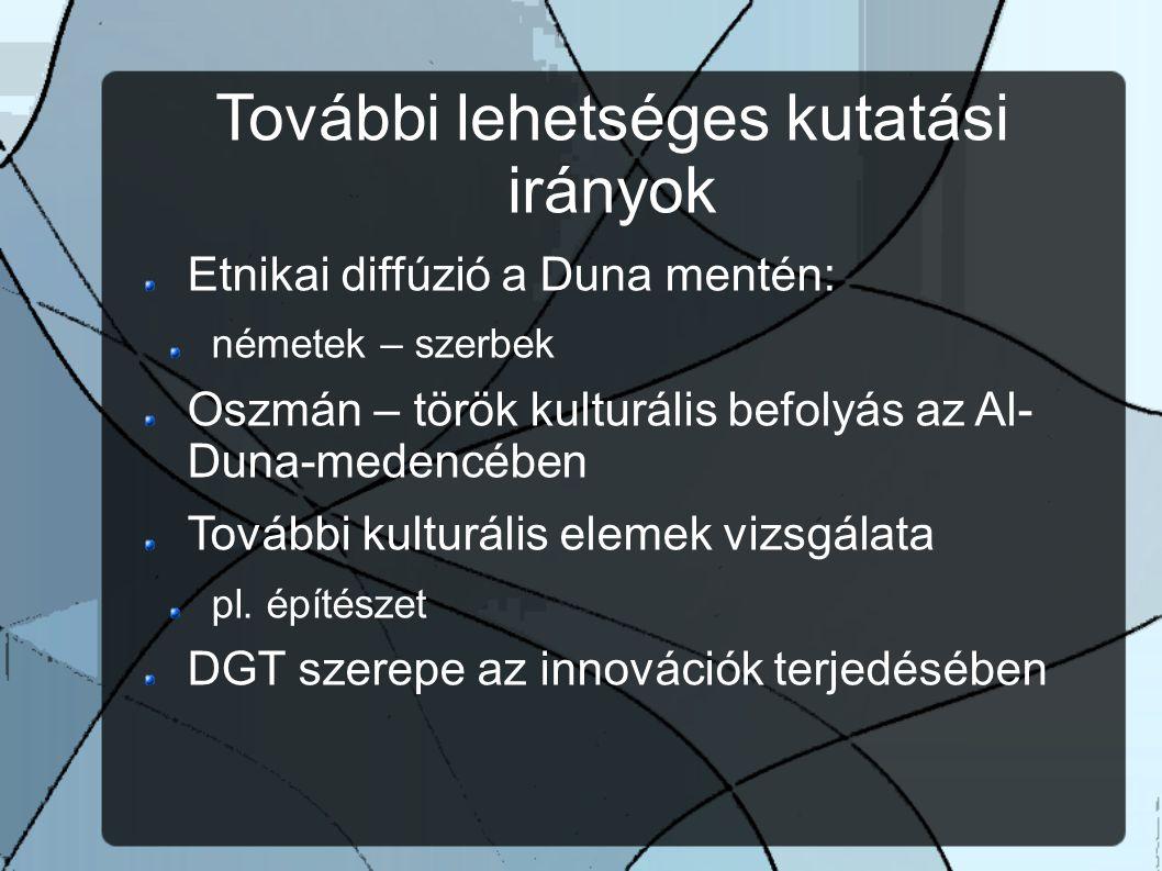 További lehetséges kutatási irányok Etnikai diffúzió a Duna mentén: németek – szerbek Oszmán – török kulturális befolyás az Al- Duna-medencében További kulturális elemek vizsgálata pl.