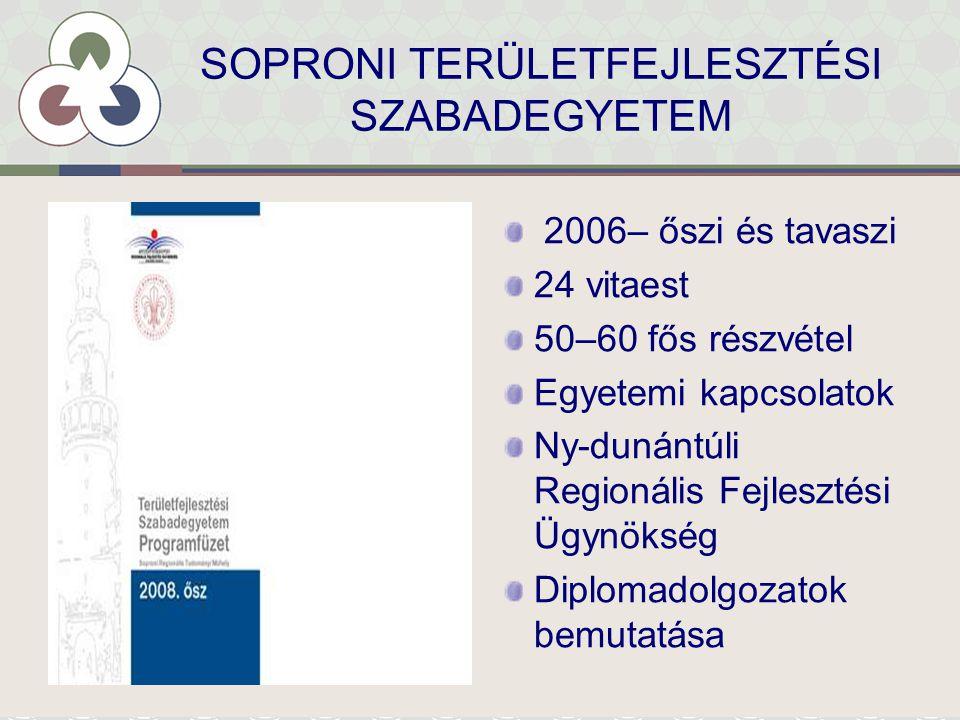 SOPRONI TERÜLETFEJLESZTÉSI SZABADEGYETEM 2006– őszi és tavaszi 24 vitaest 50–60 fős részvétel Egyetemi kapcsolatok Ny-dunántúli Regionális Fejlesztési Ügynökség Diplomadolgozatok bemutatása