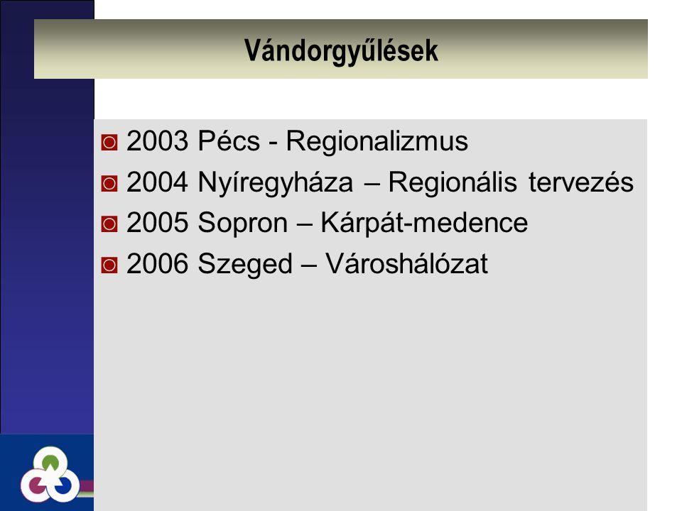 Vándorgyűlések ◙2003 Pécs - Regionalizmus ◙2004 Nyíregyháza – Regionális tervezés ◙2005 Sopron – Kárpát-medence ◙2006 Szeged – Városhálózat