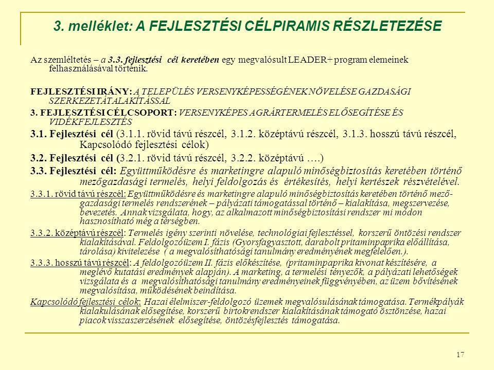 17 3.melléklet: A FEJLESZTÉSI CÉLPIRAMIS RÉSZLETEZÉSE Az szemléltetés – a 3.3.