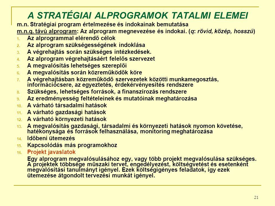 21 A STRATÉGIAI ALPROGRAMOK TATALMI ELEMEI m.n.