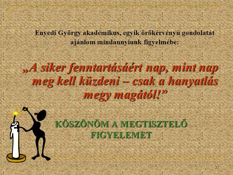 """22 KÖSZÖNÖM A MEGTISZTELŐ FIGYELEMET Enyedi György akadémikus, egyik örökérvényű gondolatát ajánlom mindannyiunk figyelmébe: """"A siker fenntartásáért nap, mint nap meg kell küzdeni – csak a hanyatlás megy magától!"""