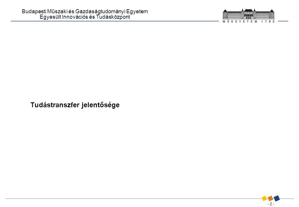 - 2 - Budapesti Műszaki és Gazdaságtudományi Egyetem Egyesült Innovációs és Tudásközpont Tudástranszfer jelentősége