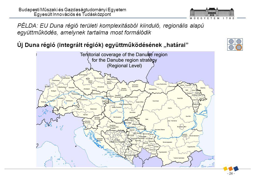 """- 24 - Budapesti Műszaki és Gazdaságtudományi Egyetem Egyesült Innovációs és Tudásközpont PÉLDA: EU Duna régió területi komplexitásból kiinduló, regionális alapú együttműködés, amelynek tartalma most formálódik Új Duna régió (integrált régiók) együttműködésének """"határai"""