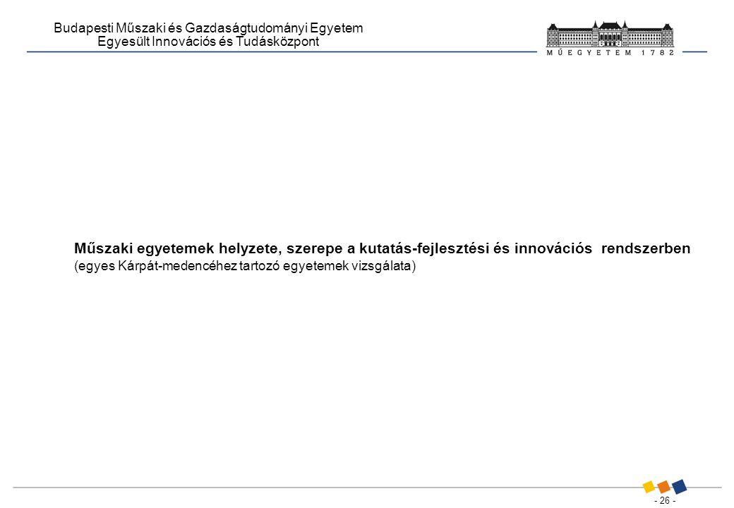 - 26 - Budapesti Műszaki és Gazdaságtudományi Egyetem Egyesült Innovációs és Tudásközpont Műszaki egyetemek helyzete, szerepe a kutatás-fejlesztési és innovációs rendszerben (egyes Kárpát-medencéhez tartozó egyetemek vizsgálata)