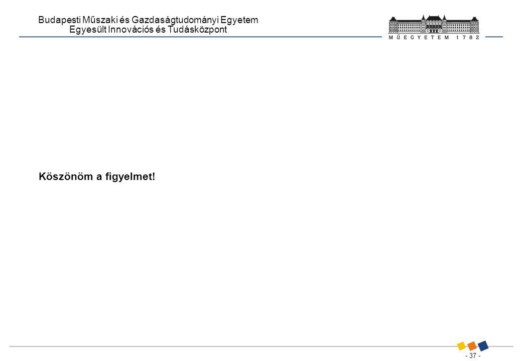 - 37 - Budapesti Műszaki és Gazdaságtudományi Egyetem Egyesült Innovációs és Tudásközpont Köszönöm a figyelmet!